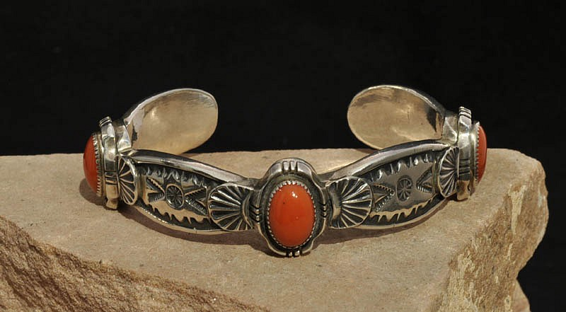 08 - Jewelry-New | Navajo Silver Bracelet with Three Coral Settings