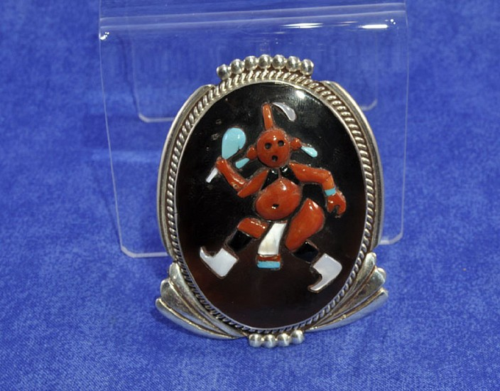 07 - Jewelry-Old, Zuni  Inlay Mudhead Pendant, ARP ZUNI NM,  Augustine and Rosali Pinto 1970, Sterling silver with inlaid stones