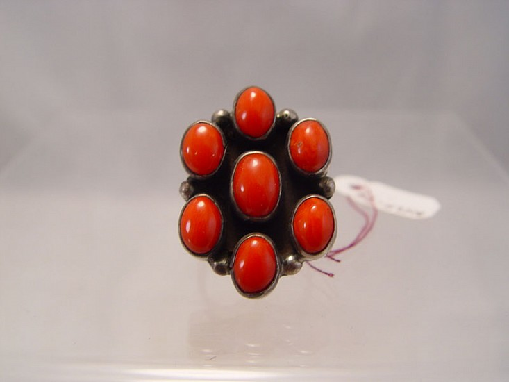 08 - Jewelry-New, Navajo Coral Ring size 7 1/4 1980, Sterling Silver and Coral