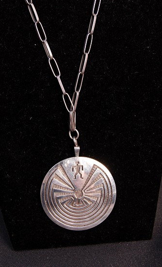 08 - Jewelry-New, TWO SIDED Man in Maze Bolo by Laurence Saufkie attributed to Hopi Master Silversmith  Lawrence Saufkie (1935-2011) Lawrence's father Paul Saufkie and Fred Kabotie were the Founders of Hopi Sterling Overlay jewelry like this. Docs, unsigned c.1970s
