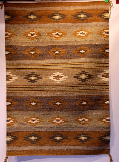"01 - Navajo Textiles, Navajo Chinle Classic Revival Banded Rug with Vegetal Dyes 58""x39"", c 1960s, Excellent condition 1960s"