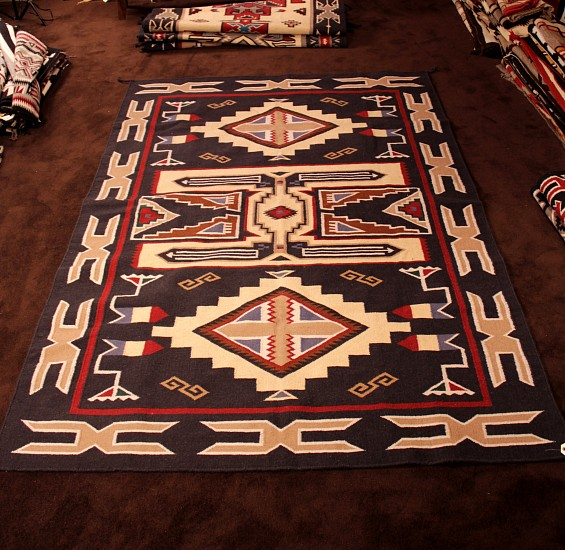01 - Navajo Textiles, LARGE Room-sized 6'x9' SW Style (Non-Navajo) Wool rug in Navajo Teec Nos Pos Style New