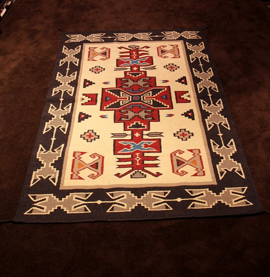 "01 - Navajo Textiles, 84""x53"" SW Style Wool Rug (Non-Navajo) in Navajo Teec Nost Pos Style New"