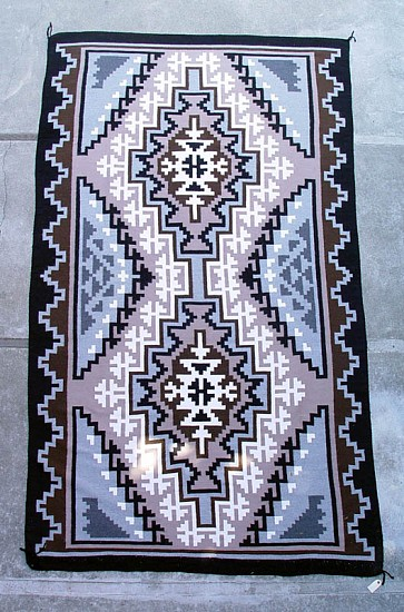 01 - Navajo Textiles, HUGE ROOM-SIZED 6'x10' Navajo rug; Large Two Gray Hills; MINT condition by Regina Bia 1990