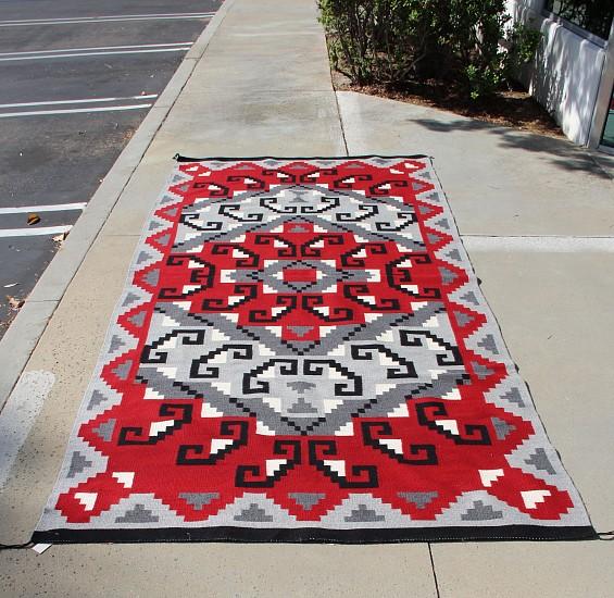 "01 - Navajo Textiles, HUGE 5'x11' ( 5'2"" x 10'10""/62x130"") Navajo Ganado/Klagatoh with Hooks Motif, Dark Gray Field New"