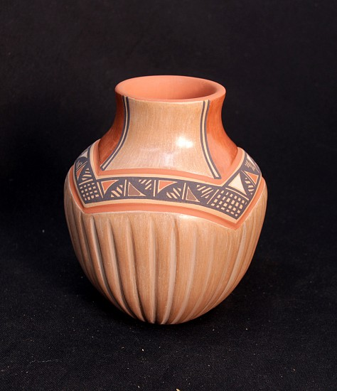 "03 - Pueblo Pottery, Jemez Pottery by Bertha Gachupin: Polychrome Jar (7"" ht x 5.5"" d) Hand coiled clay pottery"