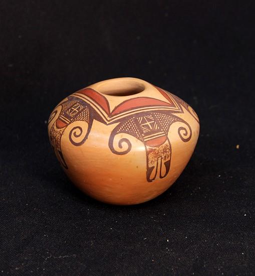 "03 - Pueblo Pottery, Hopi Polychrome Pottery with Sikyatki inspired motifs by Darlene Nampeyo , 4"" x 3.5"", abstract birds motif, 1980 1980"
