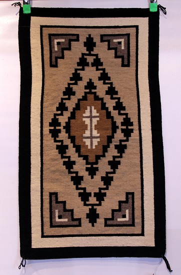 "01 - Navajo Textiles, Two Grey Hills Tapestry: c. 1970 Central Diamond Motif (20"" x 35"") 1970, Handspun wool"