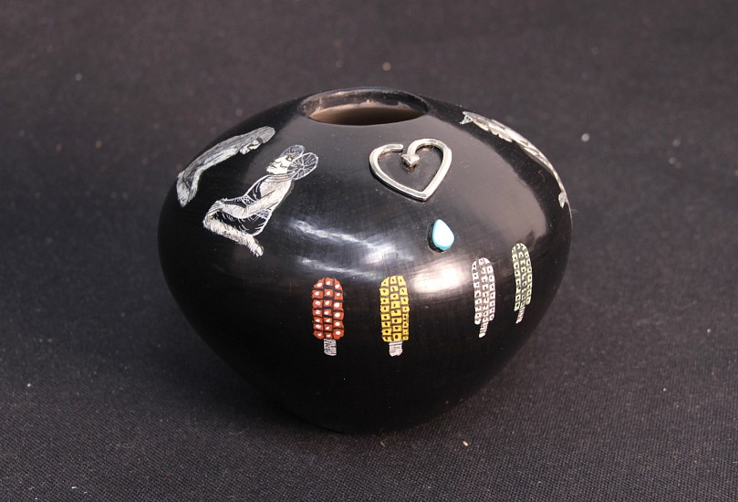 "03 - Pueblo Pottery, A one of a kind Hopi Pottery Jar by Lawrence Namoki 5"" x 5"" entitled ""Love Hopi"" has sterling silver and turquoise"