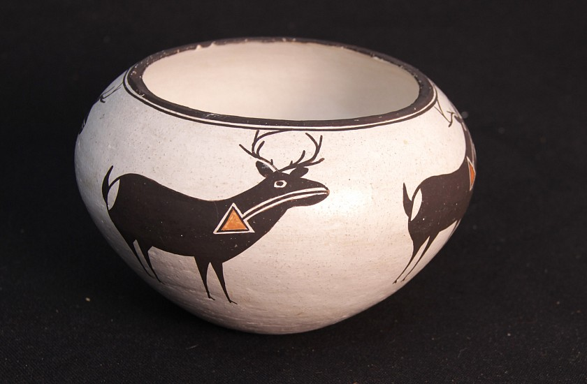 "03 - Pueblo Pottery, Lucy & Mary Lewis Polychrome Deer Pictorial Pot  7"" diameter x 4.75"" ht 1970"