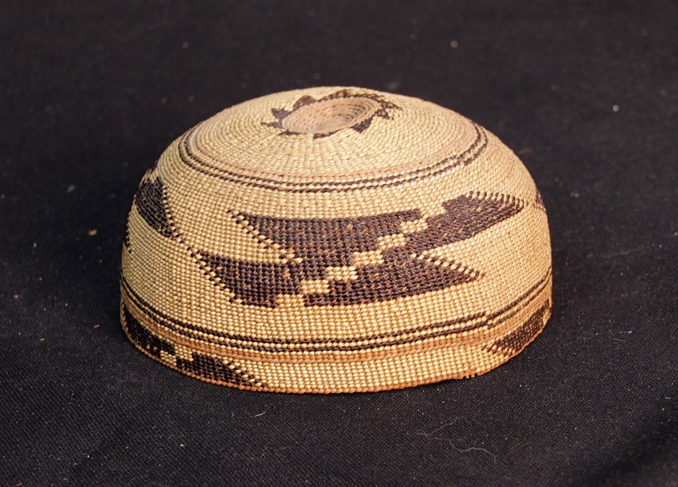 "02 - Indian Baskets, Antique Karok Child's Basketry Hat c.1905 6 1/4"" x 3"" circa 1905, Spruce root and bear grass"