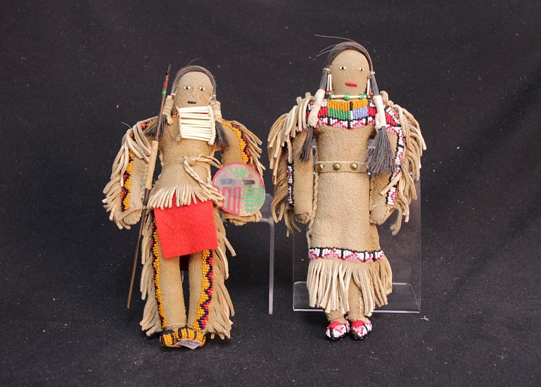 "05 - Kachinas and Dolls, PAIR of large Sioux Dolls 9 1/2"", Native Tanned Hide, Mint condition Mid 20th c"
