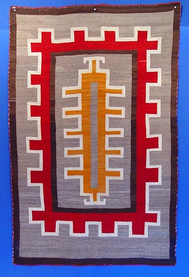 "01 - Navajo Textiles, Antique Navajo Rug: c. 1920 Rust (orange overdye of handcarded grey) Outlined in Red against a Grey Field (45 x 71"") c. 1920s"