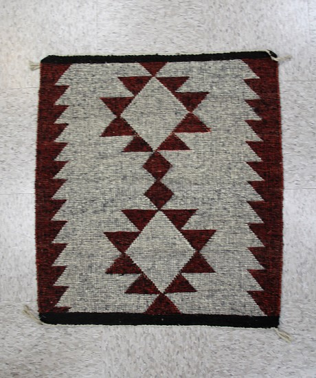 "01 - Navajo Textiles, Navajo 30""x26"" Single Saddle Blanket size in Uncommon Raised Outline Style. Mint"