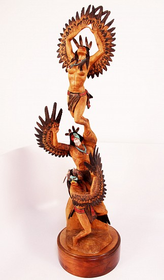 "05 - Kachinas and Dolls, 36"" ht. ""Three Ascending Eagles"" Kachinas Sculpture 36"" height x 10 1/2"" base width by Raymond M. Chee, Originally purchased at Garlands in 1999, COA notes ""prize-winning piece awared by the Eiteljorg Museum in Indianapolis, IN"" 1999, Cottonwood root"