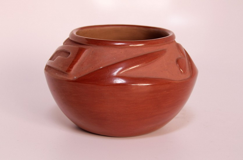 "03 - Pueblo Pottery, San Ildefonso Pottery: c. 1950s Incised Redware by Rose Gonzales (4"" ht x 6 1/2"" d) c. 1950s, Hand coiled clay pottery"
