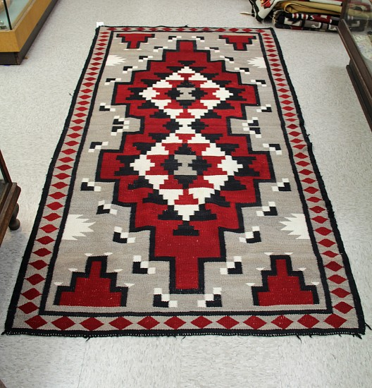 "01 - Navajo Textiles, 6 ft. Antique Navajo Rug: Ganado (38"" x 72"") handspun wool yarn with deep red c.1940, Handspun wool"