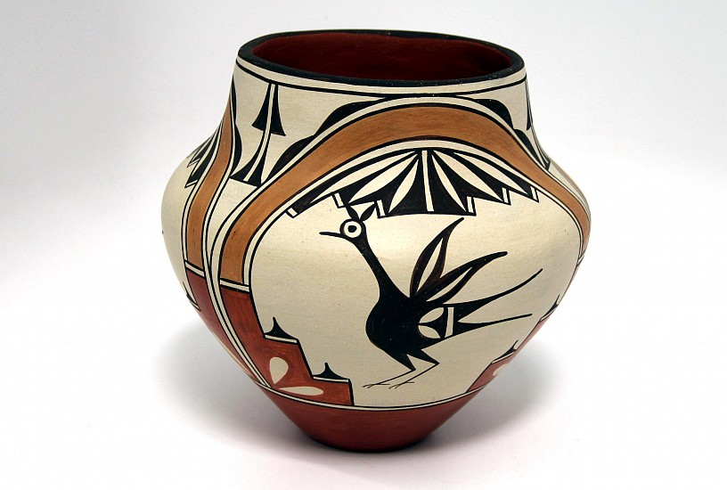 "03 - Pueblo Pottery, Zia Pottery: c. 1980s Large Polychrome Olla by Sofia Medina, Bird/Roadrunner Motif (10"" ht x 11"" d) c. 1980s, Hand coiled clay pottery"