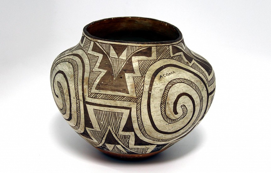 "03 - Pueblo Pottery, Antique Acoma Pottery: c. 1920s Large Olla (8.75"" ht x 10.5"" d) c. 1920s, Hand coiled clay pottery"
