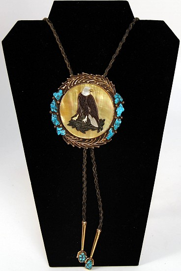 "08 - Jewelry-New, Eagle Bolo with 14K Gold Overlay on Sterling Silver, Hallmarked ""EH"" and Carving by Bessie Keedah"