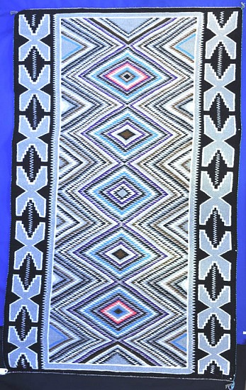 "01 - Navajo Textiles, Navajo Rug: c. 1950-1960 Red Mesa/Teec Nos Pos, Tight Weave, Excellent Condition (59"" x 96"") 1950-1960, Handspun wool"