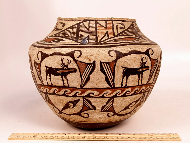 "03 - Pueblo Pottery, Historic Era Zuni Pottery: c. 1890 Polychrome Pictorial Olla, Deer Motif (8.5"" ht x 11"" d) c. 1890, Hand coiled clay pottery"