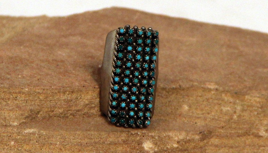 08 - Jewelry-New, Size 4 3/4 Extra Long Zuni Petit Point Ring by Lloyd Amesoli (Size 4 3/4) c1970
