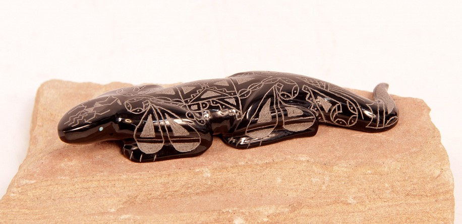 "06 - Zuni Fetishes, Zuni Fetish by Curtis Garcia: Lizard, Etched, Belgian Black Marble with Turquoise (0.5"" ht x 1"" w x 4.75"" l) Contemporary, Black Marble"