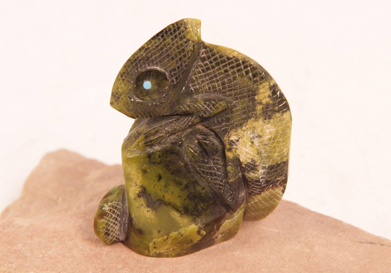 "06 - Zuni Fetishes, Zuni Fetish by Hudson Sandy: Chameleon, Serpentine (2.75"" ht x 1"" w x 2.25"" l) Contemporary"