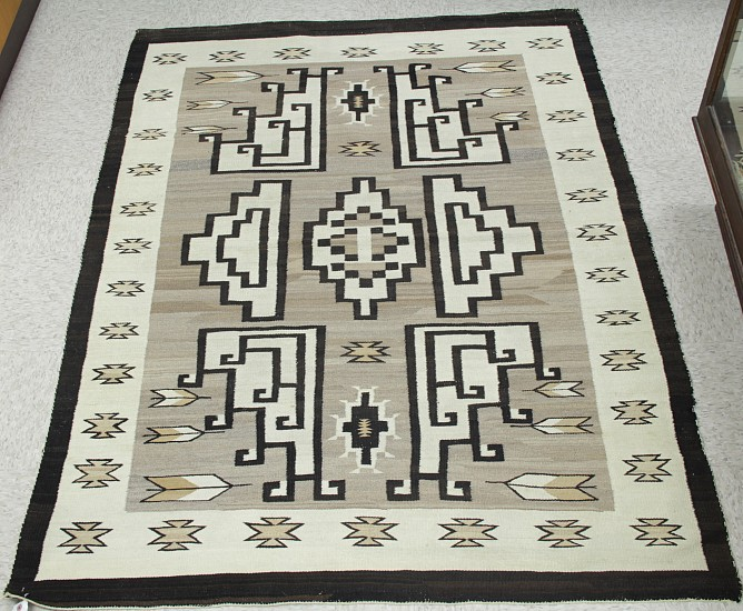 "01 - Navajo Textiles, Gorgeous Antique c1920 Navajo Rug: Crystal Region Natural (54"" x 72""). Professionally handwashed/cleaned. Great wool and weave. Excellent condition. c1920, Handspun wool"