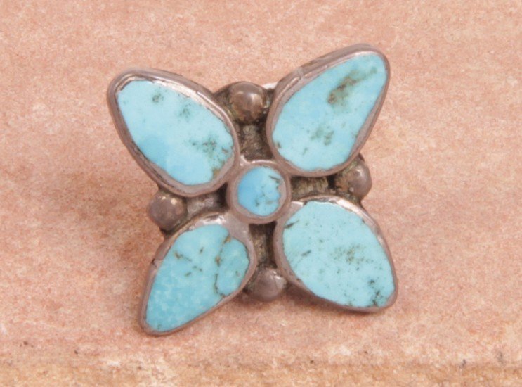 07 - Jewelry-Old, Antique Zuni Tie Tack: Four Petal Flower, Turquoise c. 1950, Sterling Silver and Turquoise