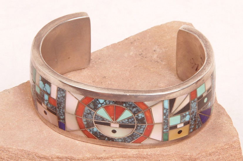 "08 - Jewelry-New, Navajo Cuff Bracelet by Gilbert Calavaza: Intricate Multistone Inlay, Spiderweb Turquoise, Lapis, Coral, Mother of Pearl (5.5"" + 1.25"" gap) c. 1970s, Sterling silver with inlaid stones"